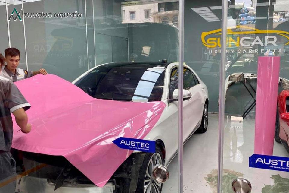 Dán Wrap toàn bộ xe vinfast lux a2.0 màu hồng