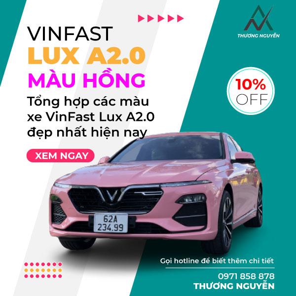 xe vinfast lux a2.0 màu hồng